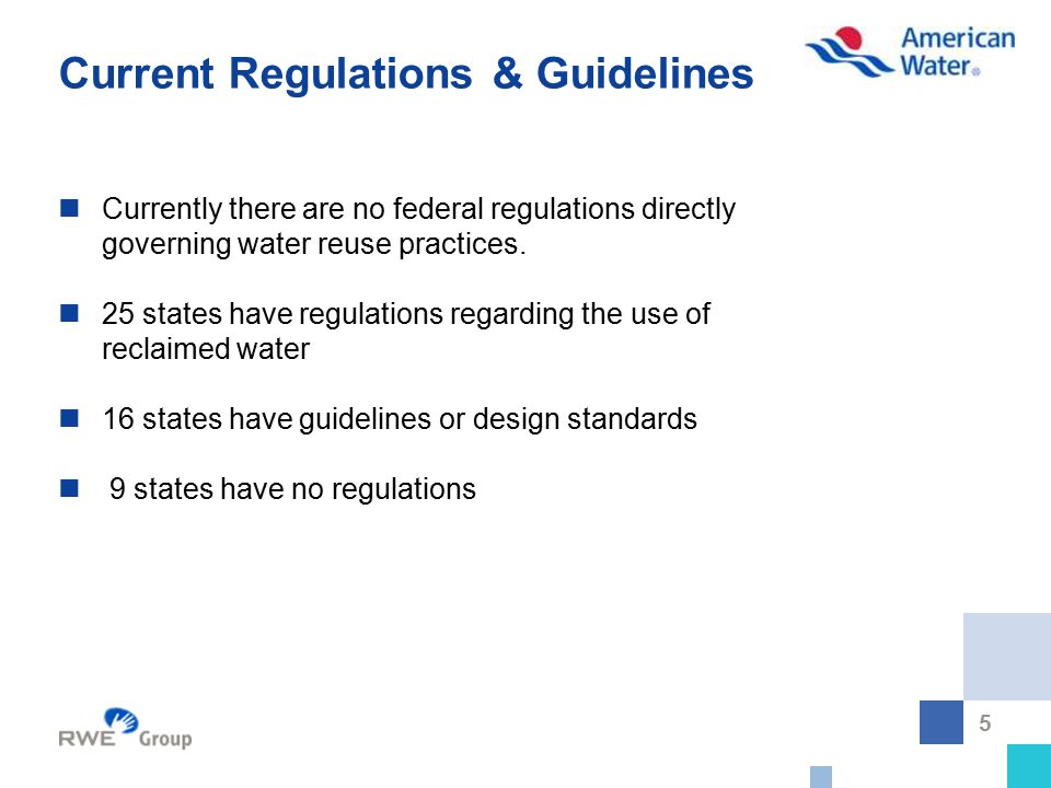 5 Current Regulations & Guidelines Currently there are no federal regulations directly governing water reuse practices. 25 states have regulations reg