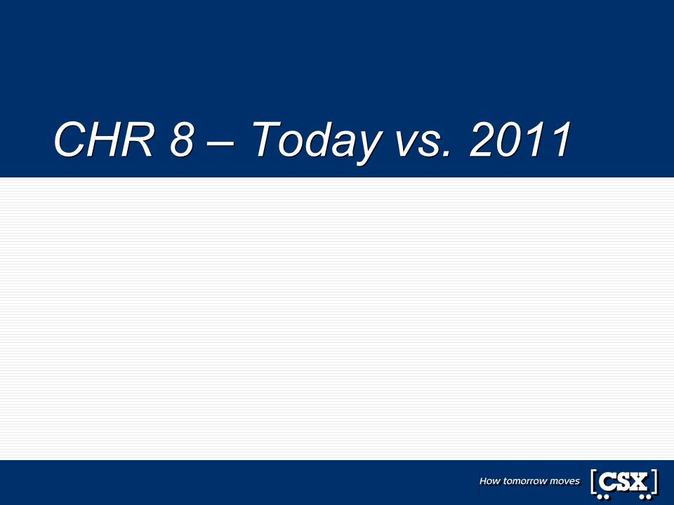 CHR 8 – Today vs. 2011