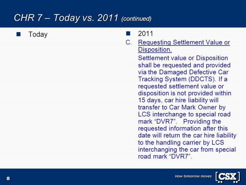 8 CHR 7 – Today vs. 2011 (continued) Today 2011 C.Requesting Settlement Value or Disposition.