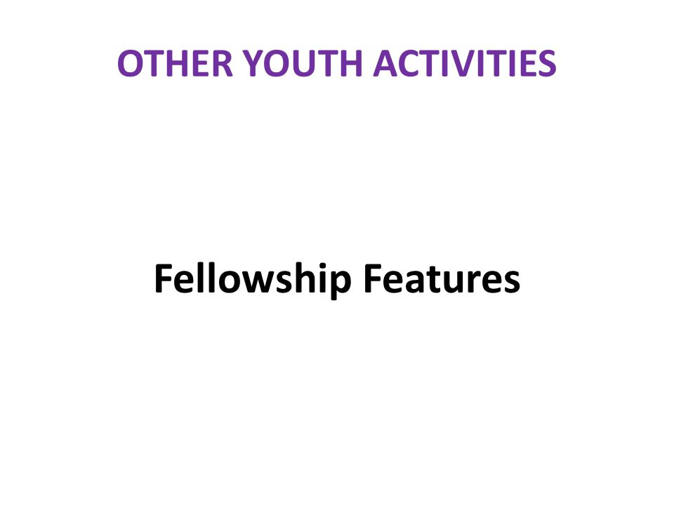 OTHER YOUTH ACTIVITIES Fellowship Features