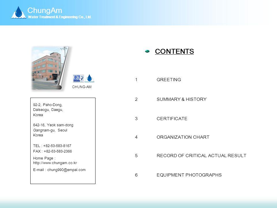 ChungAm Water Treatment & Engineering Co., Ltd.Ⅲ.