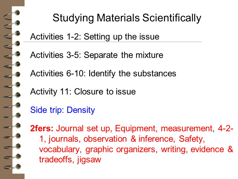 Studying Materials Scientifically Activities 1-2: Setting up the issue Activities 3-5: Separate the mixture Activities 6-10: Identify the substances A