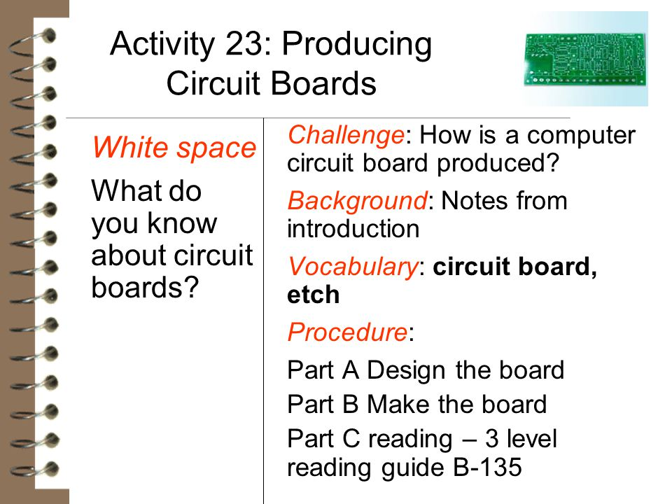 Activity 23: Producing Circuit Boards White space What do you know about circuit boards? Challenge: How is a computer circuit board produced? Backgrou