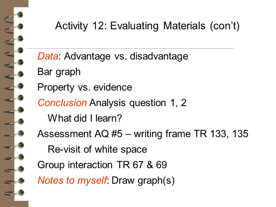 Activity 12: Evaluating Materials (con't) Data: Advantage vs. disadvantage Bar graph Property vs. evidence Conclusion Analysis question 1, 2 What did