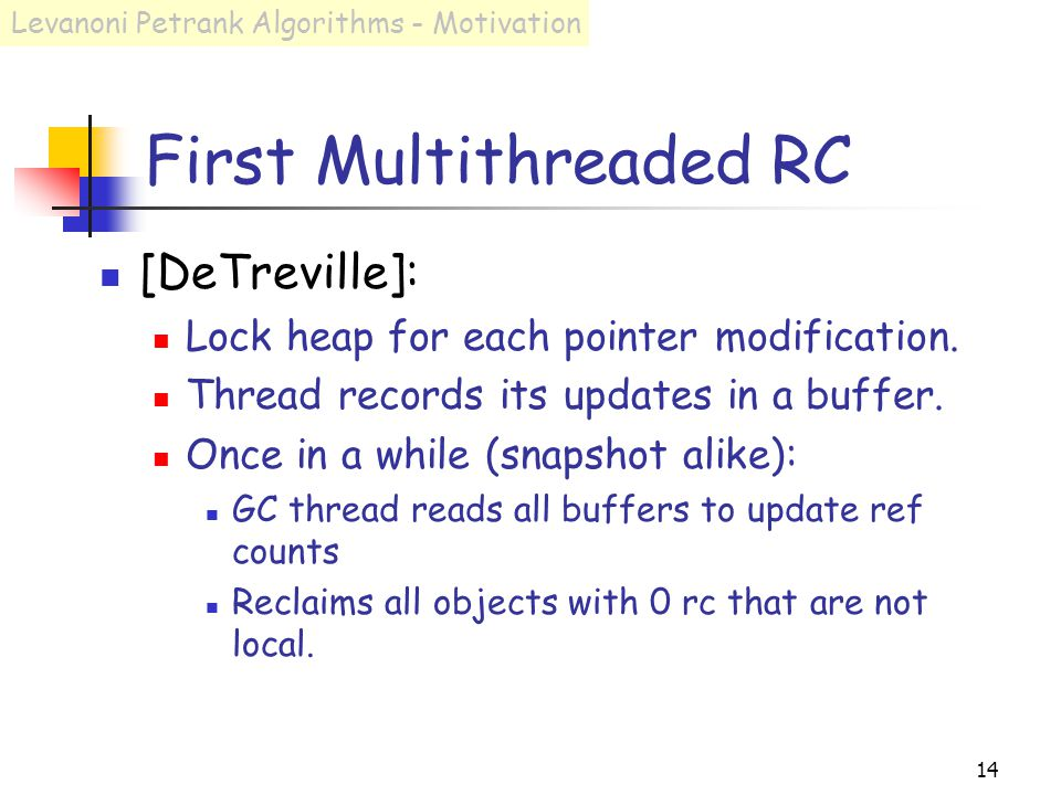 14 First Multithreaded RC [DeTreville]: Lock heap for each pointer modification.