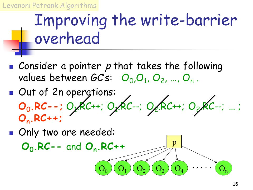 16 Improving the write-barrier overhead Consider a pointer p that takes the following values between GC's: O 0,O 1, O 2, …, O n.