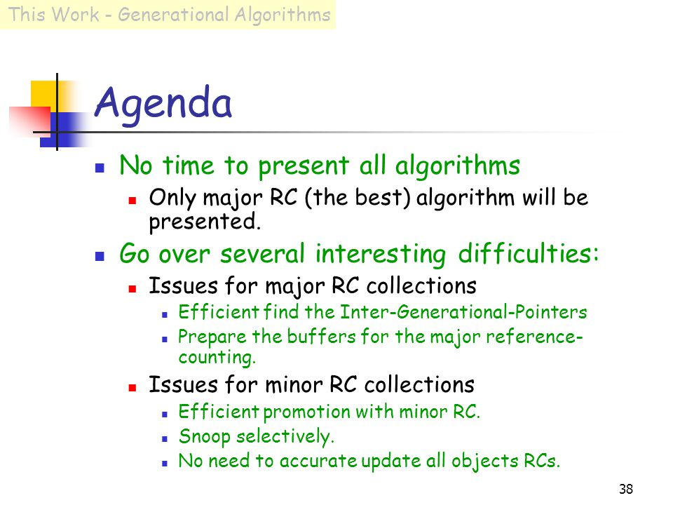38 Agenda No time to present all algorithms Only major RC (the best) algorithm will be presented.