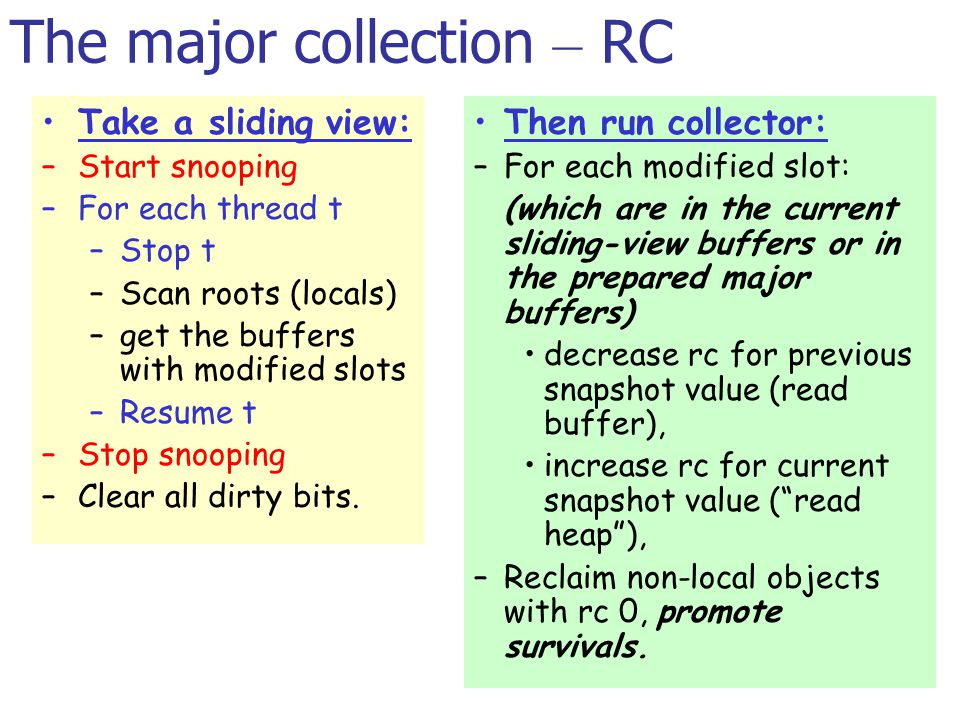 The major collection – RC Then run collector: –For each modified slot: (which are in the current sliding-view buffers or in the prepared major buffers) decrease rc for previous snapshot value (read buffer), increase rc for current snapshot value ( read heap ), –Reclaim non-local objects with rc 0, promote survivals.
