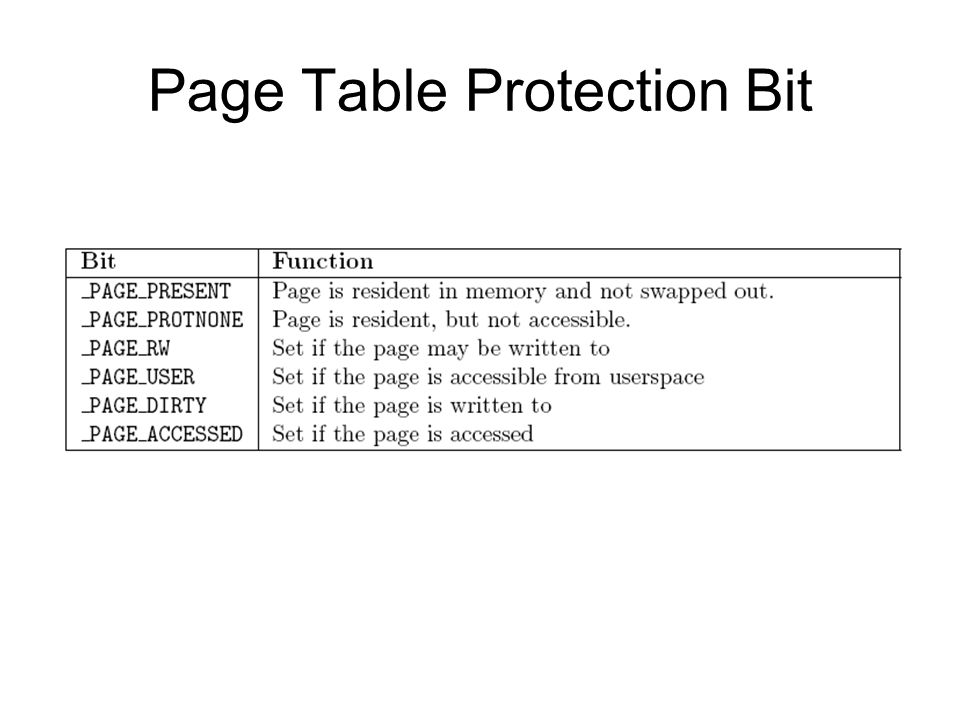 Page Table Protection Bit