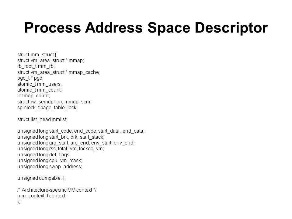 Process Address Space Descriptor struct mm_struct { struct vm_area_struct * mmap; rb_root_t mm_rb; struct vm_area_struct * mmap_cache; pgd_t * pgd; at