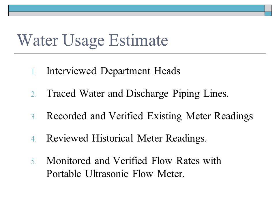 Water Usage Estimate 1. Interviewed Department Heads 2.