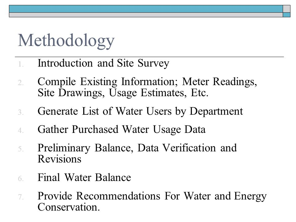 Methodology 1. Introduction and Site Survey 2.