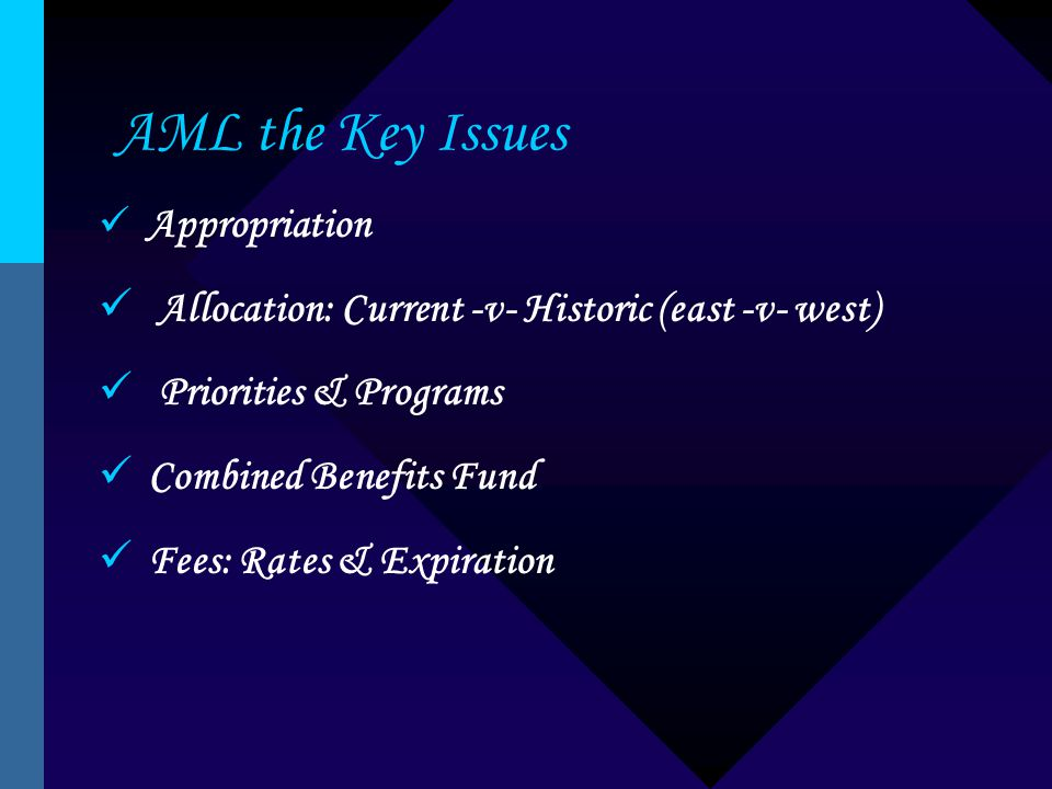 AML the Key Issues Appropriation Allocation: Current -v- Historic (east -v- west) Priorities & Programs Combined Benefits Fund Fees: Rates & Expiration