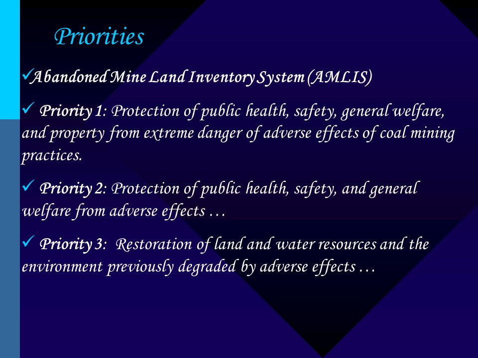Priorities Abandoned Mine Land Inventory System (AMLIS) Priority 1: Protection of public health, safety, general welfare, and property from extreme danger of adverse effects of coal mining practices.