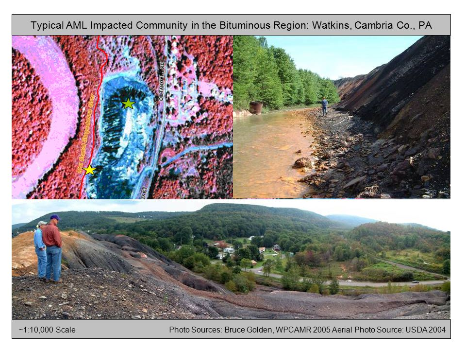 ~1:10,000 Scale Photo Sources: Bruce Golden, WPCAMR 2005 Aerial Photo Source: USDA 2004 Typical AML Impacted Community in the Bituminous Region: Watkins, Cambria Co., PA