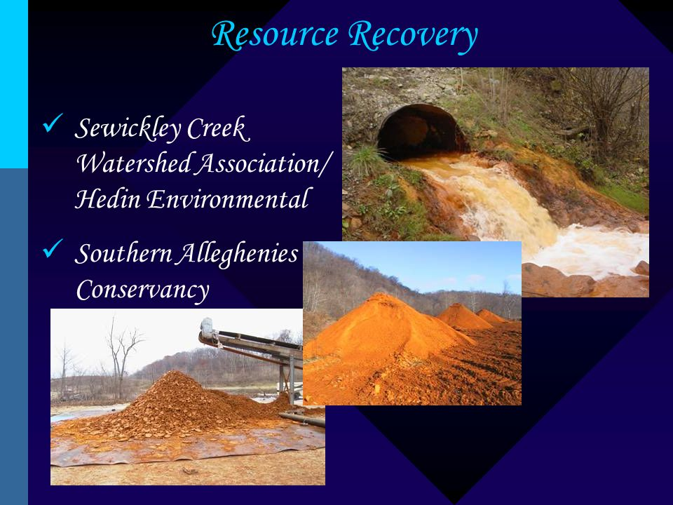 Resource Recovery Sewickley Creek Watershed Association/ Hedin Environmental Southern Alleghenies Conservancy