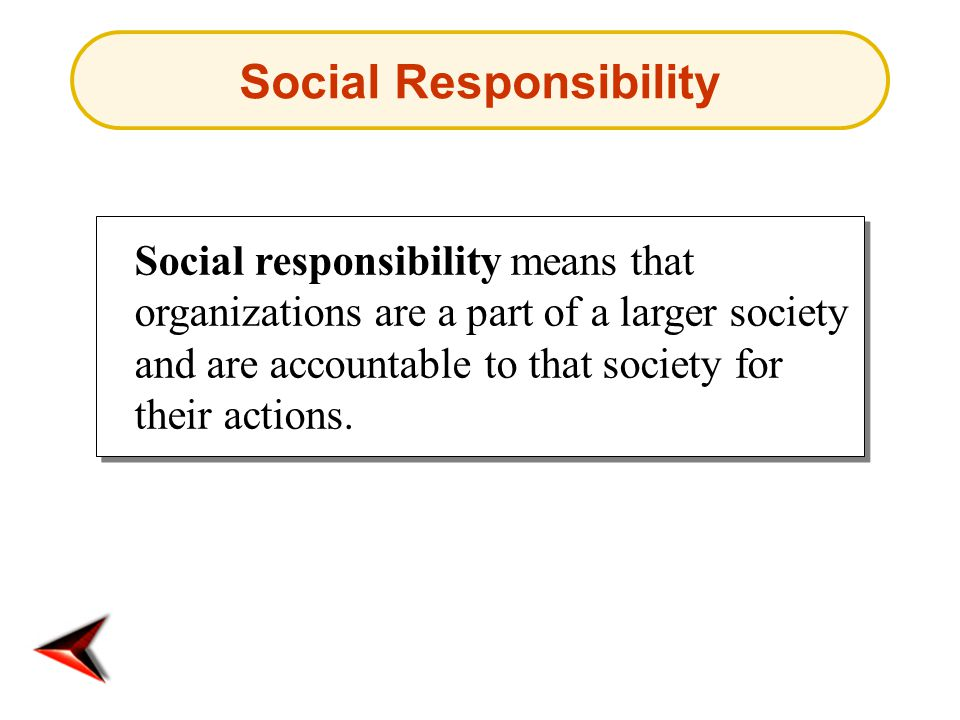 Social responsibility means that organizations are a part of a larger society and are accountable to that society for their actions.