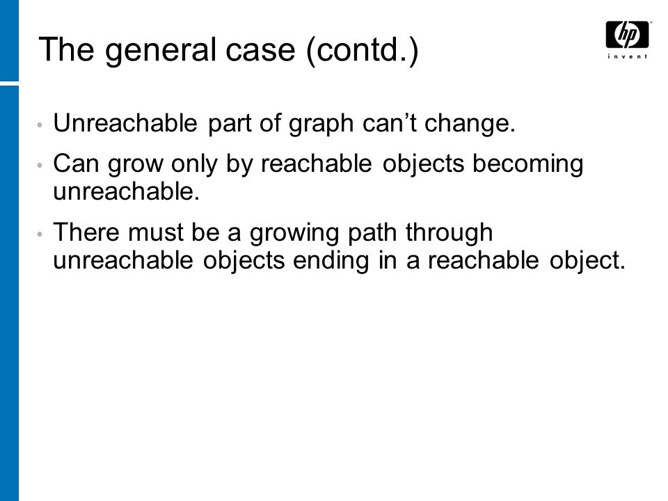 The general case (contd.) Unreachable part of graph can't change.