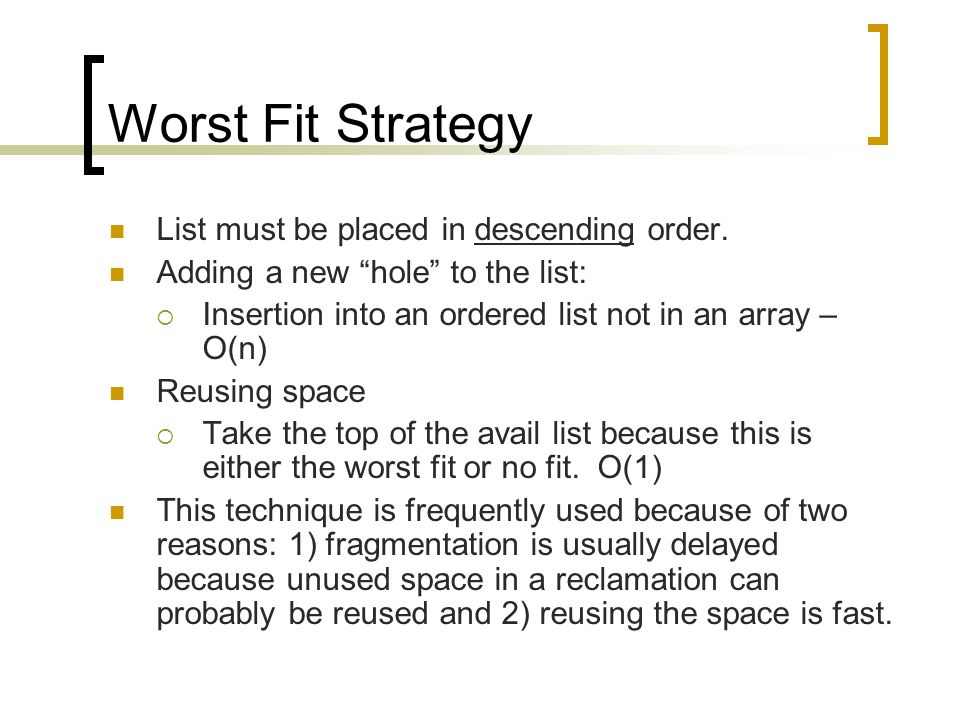 Worst Fit Strategy List must be placed in descending order.