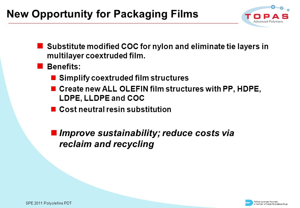 TOPAS Advanced Polymers A member of Daicel/Polyplastics Group SPE 2011 Polyolefins PDT New Opportunity for Packaging Films n Substitute modified COC for nylon and eliminate tie layers in multilayer coextruded film.