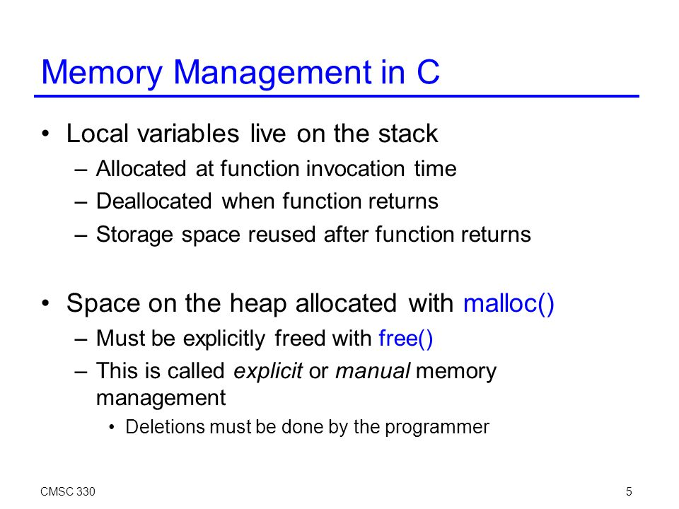 CMSC 33026 Tradeoffs Advantage: incremental technique –Generally small, constant amount of work per memory write –With more effort, can even bound running time Disadvantages: –Cascading decrements can be expensive –Also requires extra storage for reference counts –Can't collect cycles, since counts never go to 0