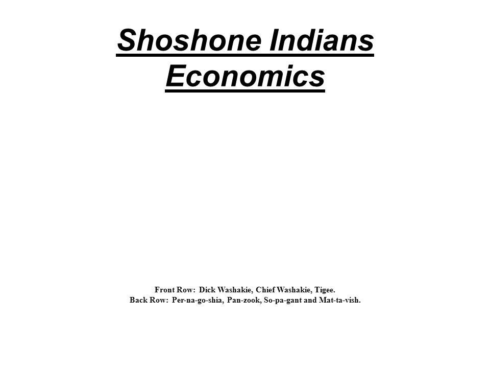 Shoshone Indians Economics Front Row: Dick Washakie, Chief Washakie, Tigee.