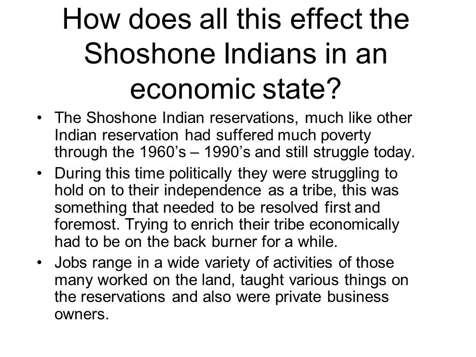 How does all this effect the Shoshone Indians in an economic state.