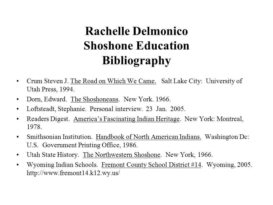 Rachelle Delmonico Shoshone Education Bibliography Crum Steven J.
