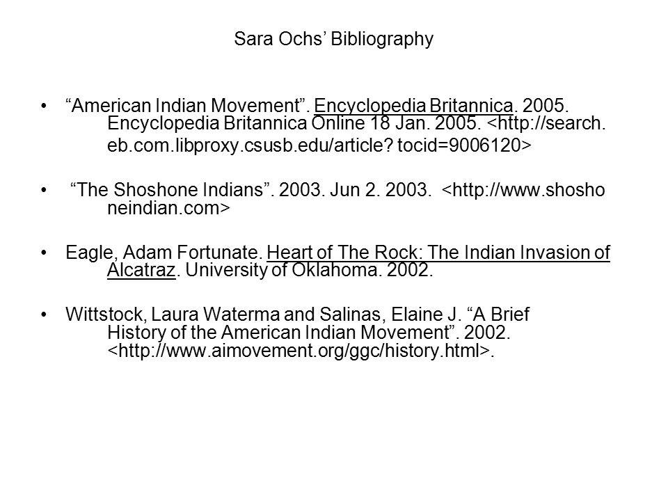 Sara Ochs' Bibliography American Indian Movement .