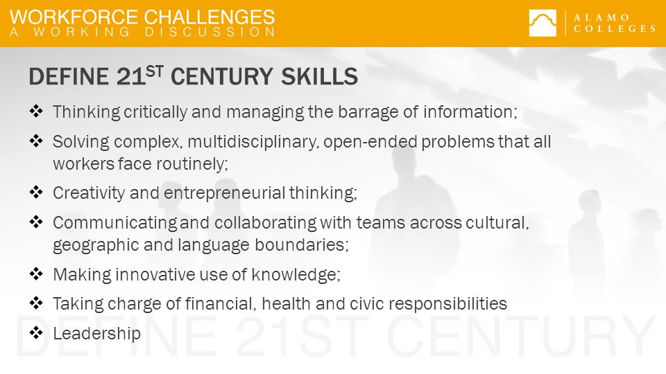 DEFINE 21 ST CENTURY SKILLS  Thinking critically and managing the barrage of information;  Solving complex, multidisciplinary, open-ended problems that all workers face routinely;  Creativity and entrepreneurial thinking;  Communicating and collaborating with teams across cultural, geographic and language boundaries;  Making innovative use of knowledge;  Taking charge of financial, health and civic responsibilities  Leadership