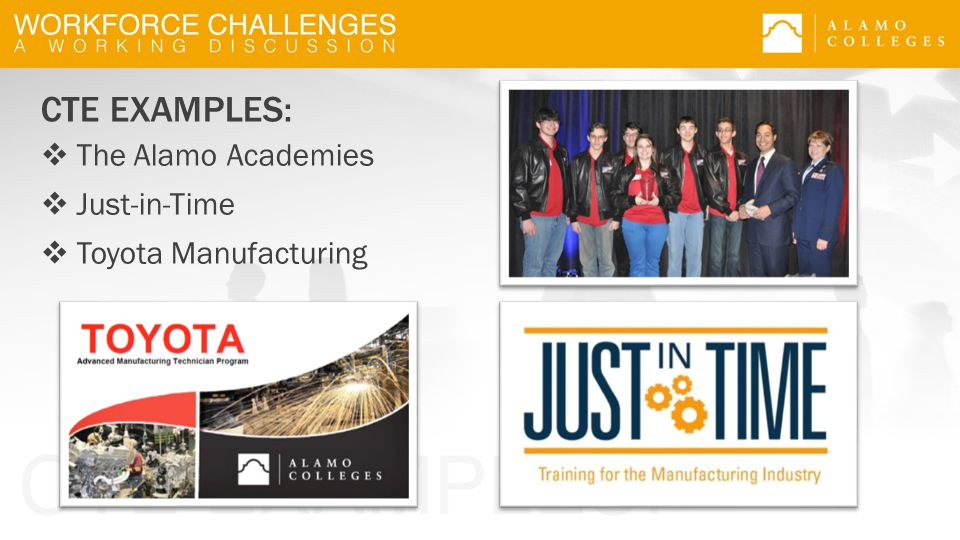 CTE EXAMPLES:  The Alamo Academies  Just-in-Time  Toyota Manufacturing