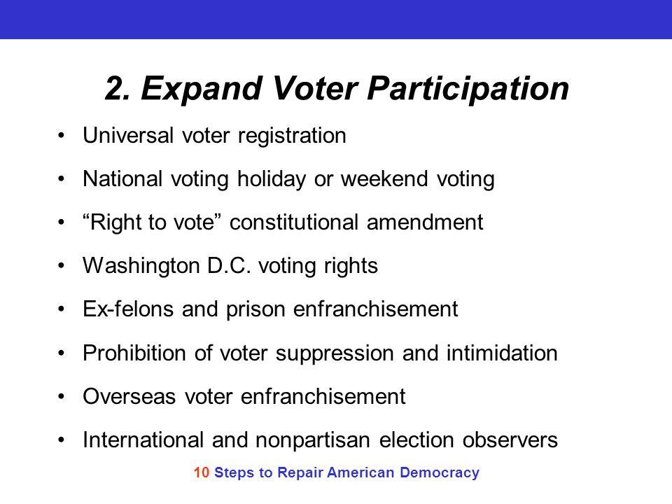 10 Steps to Repair American Democracy 2.