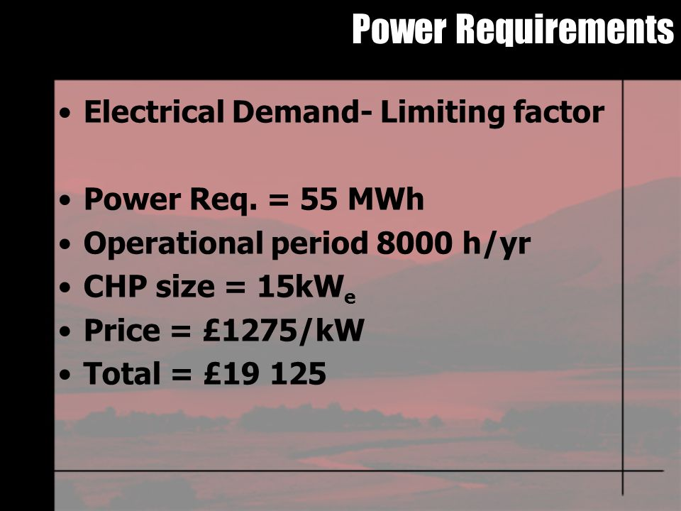Power Requirements Electrical Demand- Limiting factor Power Req.