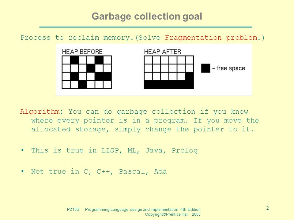 PZ10B Programming Language design and Implementation -4th Edition Copyright©Prentice Hall, 2000 2 Garbage collection goal Process to reclaim memory.(Solve Fragmentation problem.) Algorithm: You can do garbage collection if you know where every pointer is in a program.
