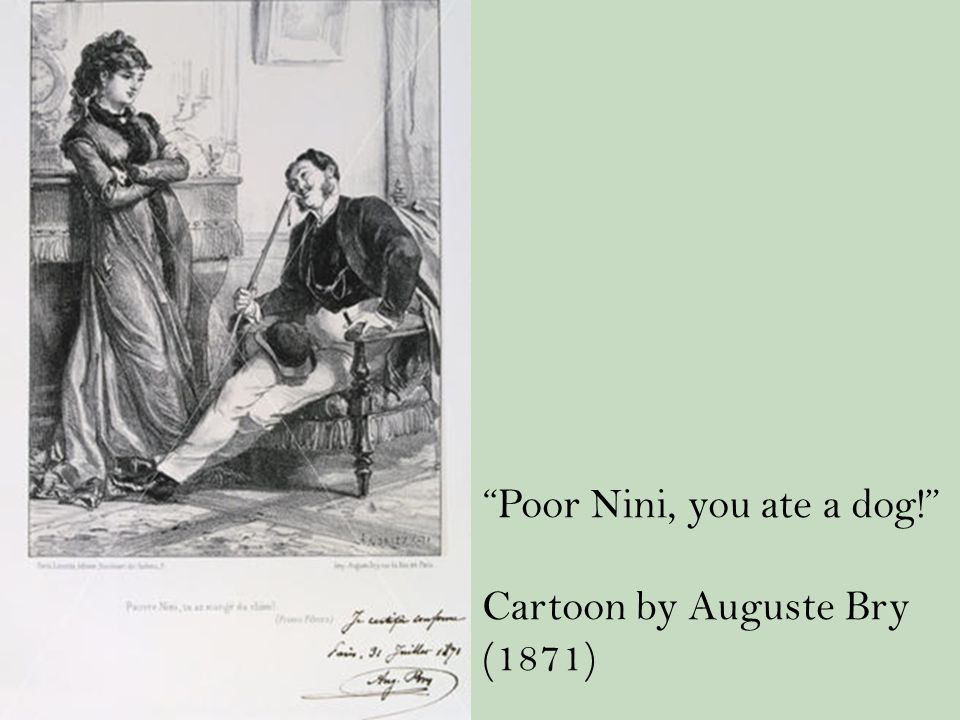 Poor Nini, you ate a dog! Cartoon by Auguste Bry (1871)