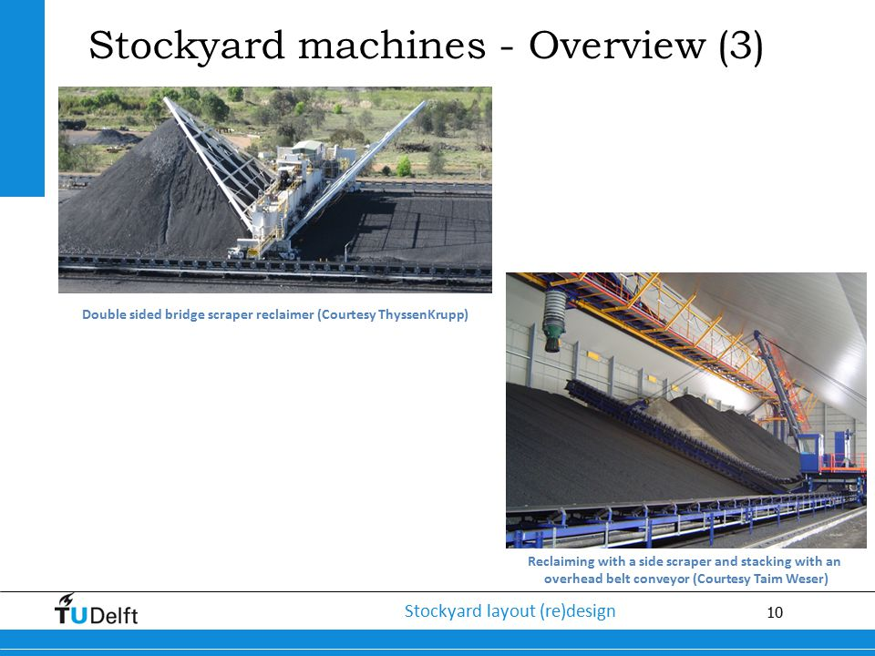 10 Stockyard layout (re)design Stockyard machines - Overview (3) Double sided bridge scraper reclaimer (Courtesy ThyssenKrupp) Reclaiming with a side
