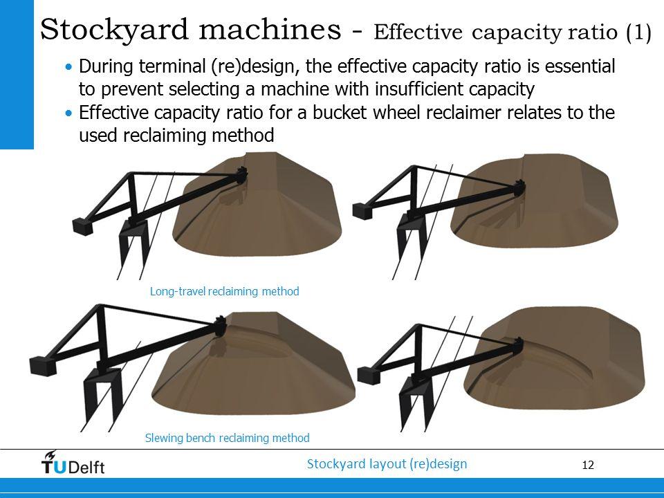 12 Stockyard layout (re)design Stockyard machines - Effective capacity ratio (1) During terminal (re)design, the effective capacity ratio is essential
