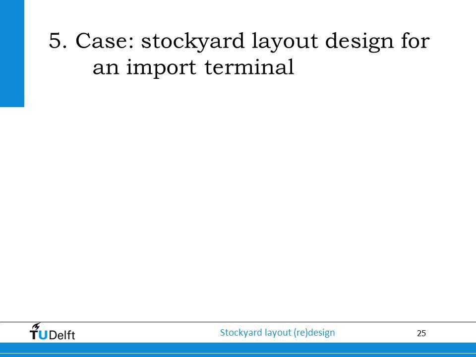 25 Stockyard layout (re)design 5. Case: stockyard layout design for an import terminal
