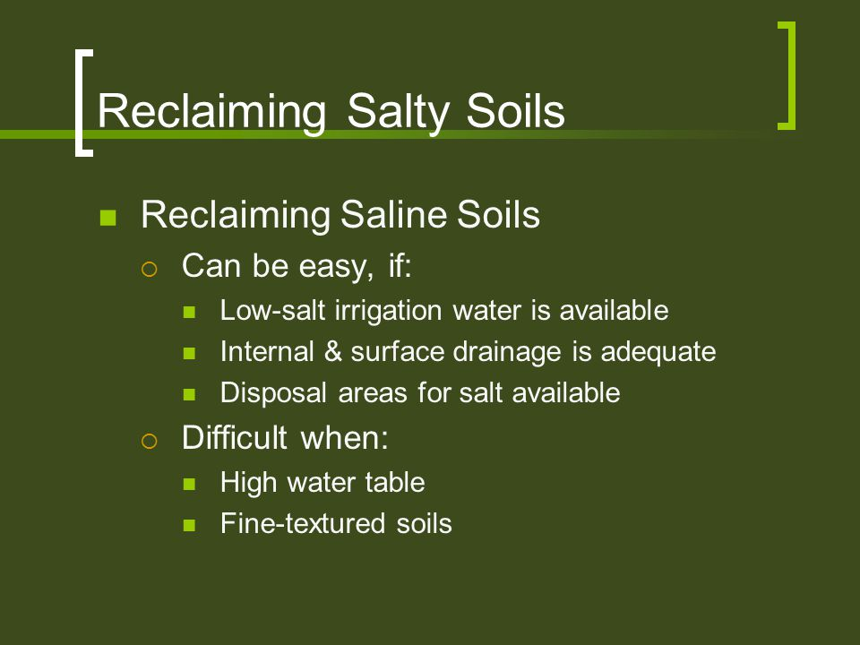 Reclaiming Salty Soils Reclaiming Saline Soils  Can be easy, if: Low-salt irrigation water is available Internal & surface drainage is adequate Dispo