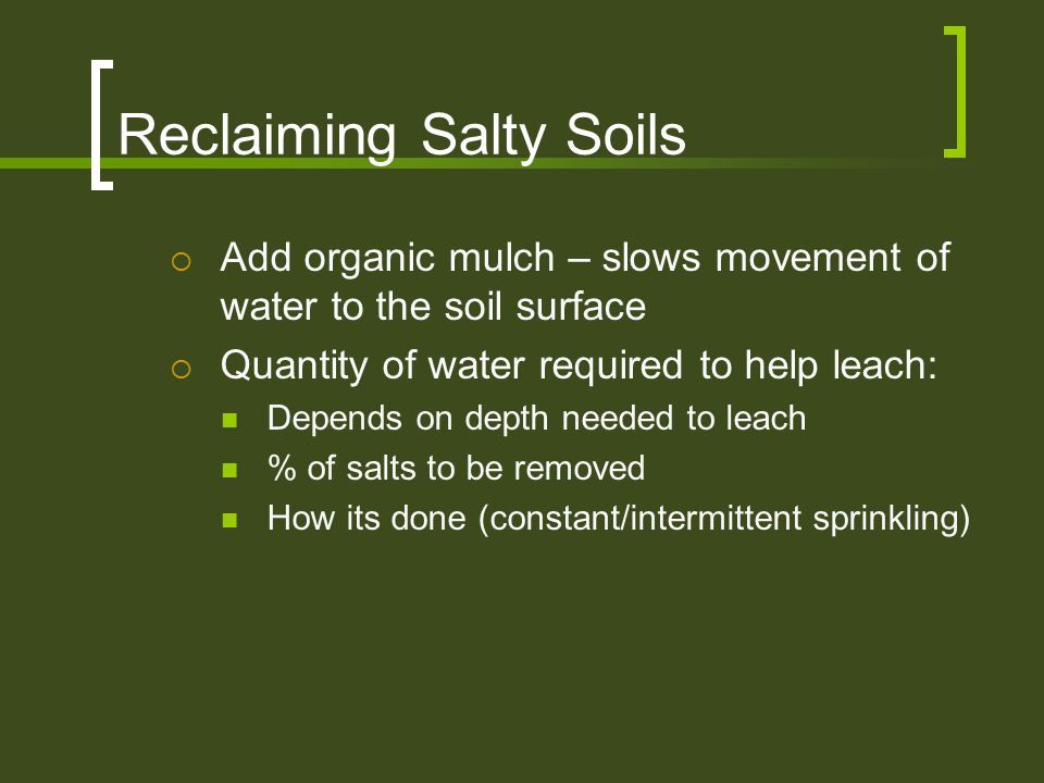 Reclaiming Salty Soils  Add organic mulch – slows movement of water to the soil surface  Quantity of water required to help leach: Depends on depth