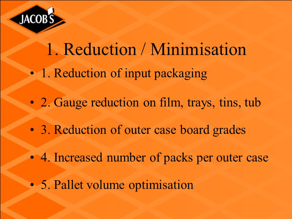 1.Reduction / Minimisation 1. Reduction of input packaging 2.