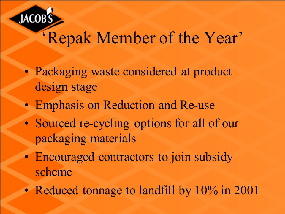 'Repak Member of the Year' Packaging waste considered at product design stage Emphasis on Reduction and Re-use Sourced re-cycling options for all of our packaging materials Encouraged contractors to join subsidy scheme Reduced tonnage to landfill by 10% in 2001