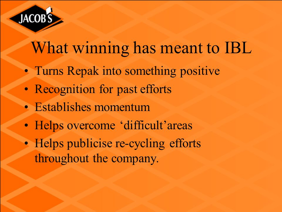 What winning has meant to IBL Turns Repak into something positive Recognition for past efforts Establishes momentum Helps overcome 'difficult'areas Helps publicise re-cycling efforts throughout the company.