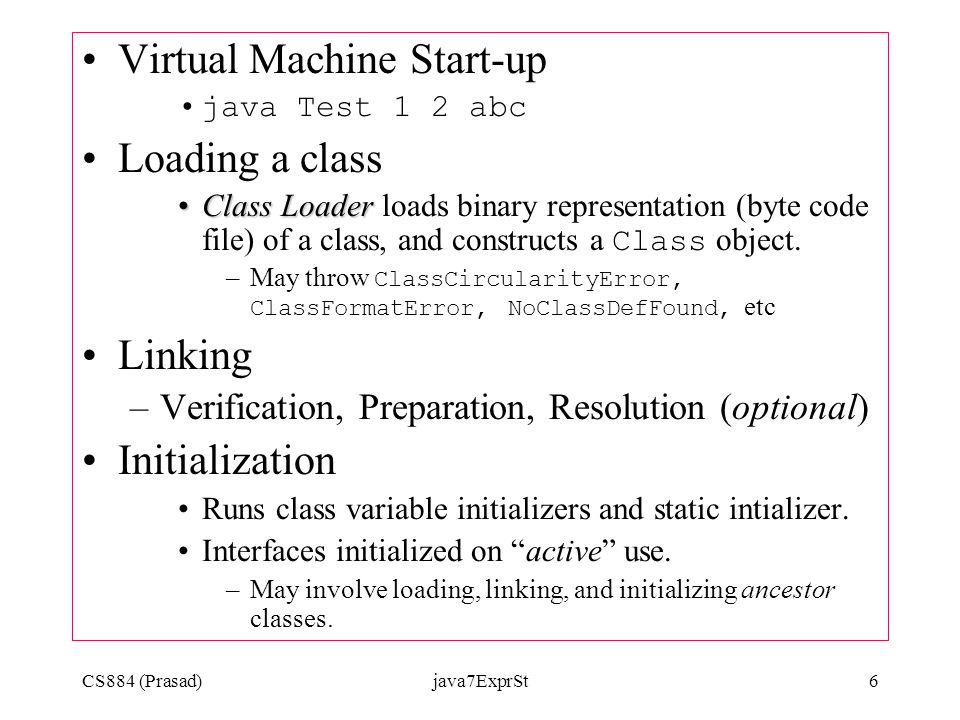 CS884 (Prasad)java7ExprSt6 Virtual Machine Start-up java Test 1 2 abc Loading a class Class LoaderClass Loader loads binary representation (byte code file) of a class, and constructs a Class object.