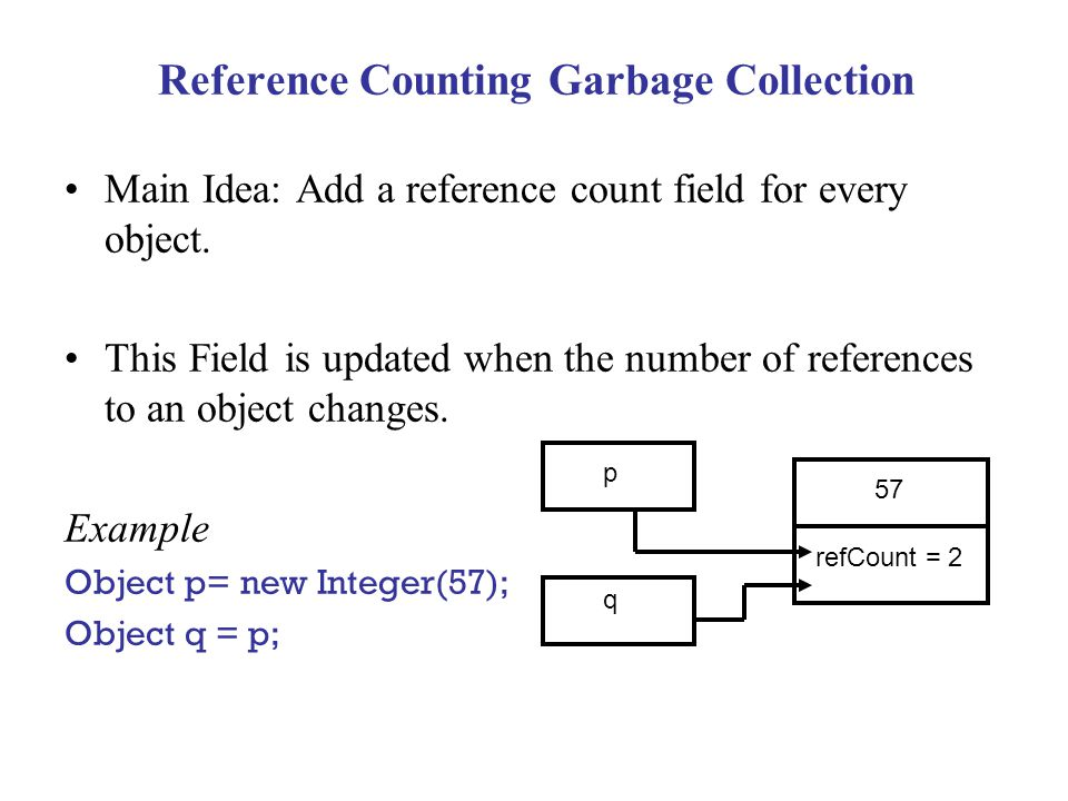 Reference Counting Garbage Collection Main Idea: Add a reference count field for every object. This Field is updated when the number of references to