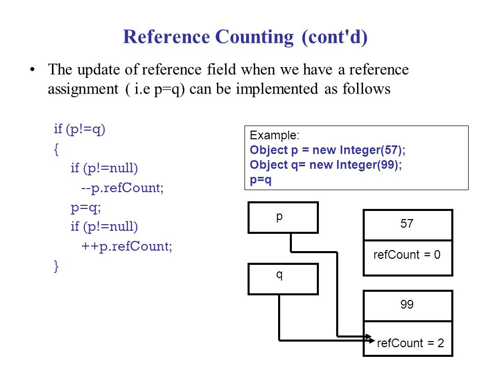 Reference Counting (cont d) The update of reference field when we have a reference assignment ( i.e p=q) can be implemented as follows if (p!=q) { if (p!=null) --p.refCount; p=q; if (p!=null) ++p.refCount; } 57 refCount = 0 p q 99 refCount = 2 Example: Object p = new Integer(57); Object q= new Integer(99); p=q