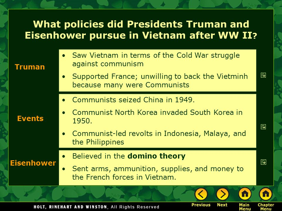 What policies did Presidents Truman and Eisenhower pursue in Vietnam after WW II .