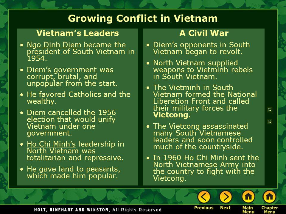 Growing Conflict in Vietnam Vietnam's Leaders Ngo Dinh Diem became the president of South Vietnam in 1954.