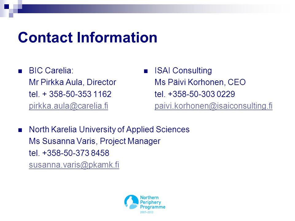Contact Information BIC Carelia: Mr Pirkka Aula, Director tel.