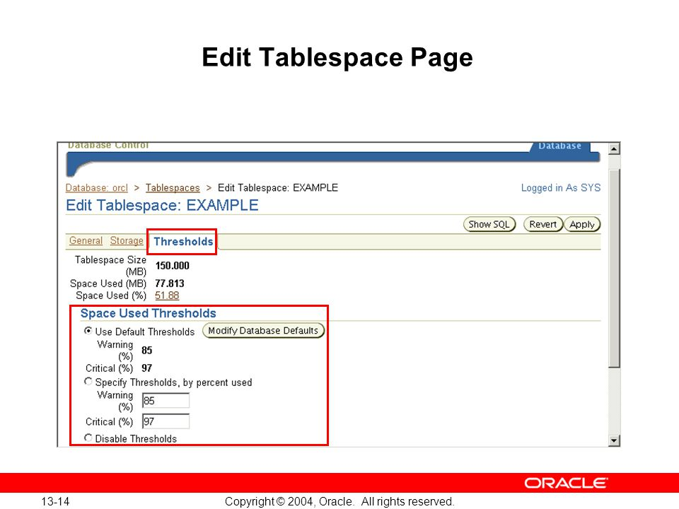 13-14 Copyright © 2004, Oracle. All rights reserved. Edit Tablespace Page